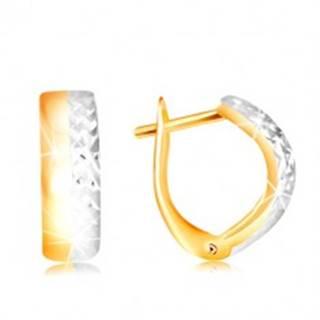Náušnice v 14K zlate - dvojfarebný vypuklý oblúk s hladkou a brúsenou polovicou