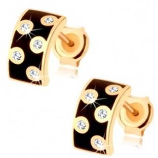 Náušnice v žltom 9K zlate - širší polkruh s glazúrou čiernej farby, číre zirkóny