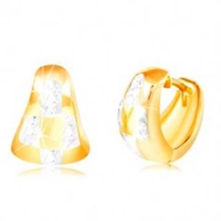 Náušnice zo 14K zlata - dvojfarebný zaoblený trojuholník so vzorom šachovnice