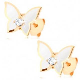 Náušnice zo zlata 375 - malý motýlik, krídla pokryté bielou glazúrou, číry zirkón