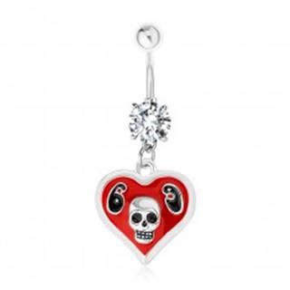 Oceľový 316L piercing do brucha, srdce, glazúra, lebka, číslica 69