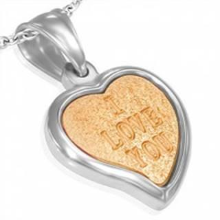 Oceľový prívesok - pieskované srdiečko zlatej farby I love you v línii striebornej farby