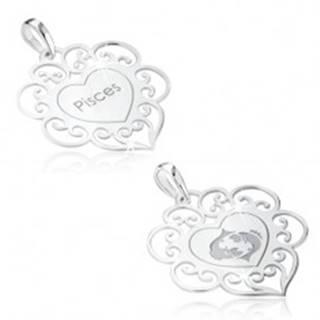 Prívesok zo striebra 925, znamenie zverokruhu RYBY, srdce s ornamentami
