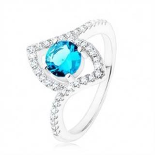 Prsteň, striebro 925, jasnomodrý zirkón - kruh, špicaté zrnko - kontúra - Veľkosť: 49 mm