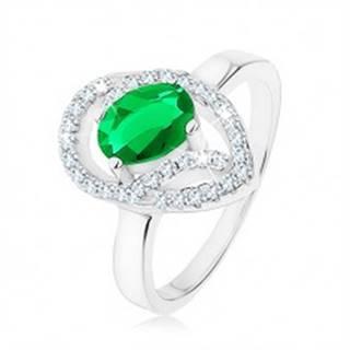 Prsteň zo striebra 925, oválny zelený zirkón, asymetrická kvapka - obrys - Veľkosť: 49 mm