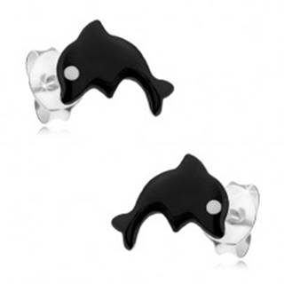 Strieborné 925 náušnice, malý delfín pokrytý čiernou glazúrou, biele očko