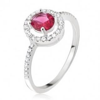 Strieborný prsteň 925 - okrúhly ružovočervený zirkón, číra obruba - Veľkosť: 54 mm