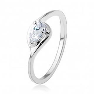 Strieborný prsteň 925, tenké ramená, číra zirkónová kvapka, lesklý obrys - Veľkosť: 49 mm