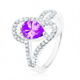 Strieborný prsteň 925, zirkón tanzanitovej farby - slza, prepletené línie - Veľkosť: 49 mm