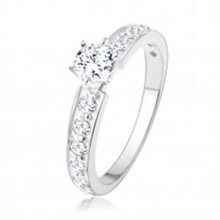 Trblietavý zásnubný prsteň, striebro 925, číre zirkónové línie, okrúhly zirkón - Veľkosť: 49 mm