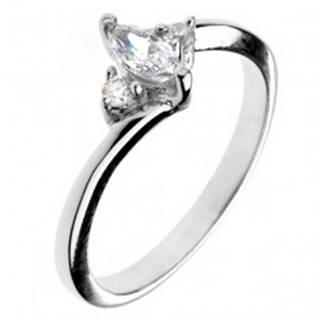Zásnubný prsteň zo striebra 925 - zirkón v tvare zrnka a dva malé zirkóny - Veľkosť: 50 mm