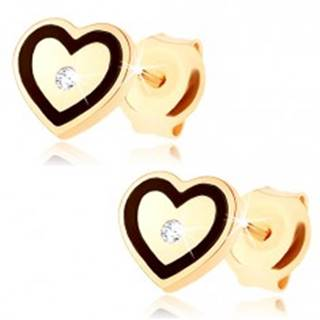 Zlaté náušnice 375 - súmerné srdiečko, drobný zirkónik, srdcový obrys z čiernej glazúry