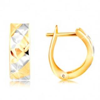 Zlaté náušnice 585 - pásy v žltom a bielom zlate, ligotavé zárezy