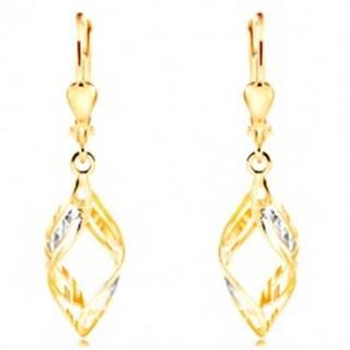 Zlaté náušnice 585 - širšie dvojfarebné vlnky zdobené výrezmi