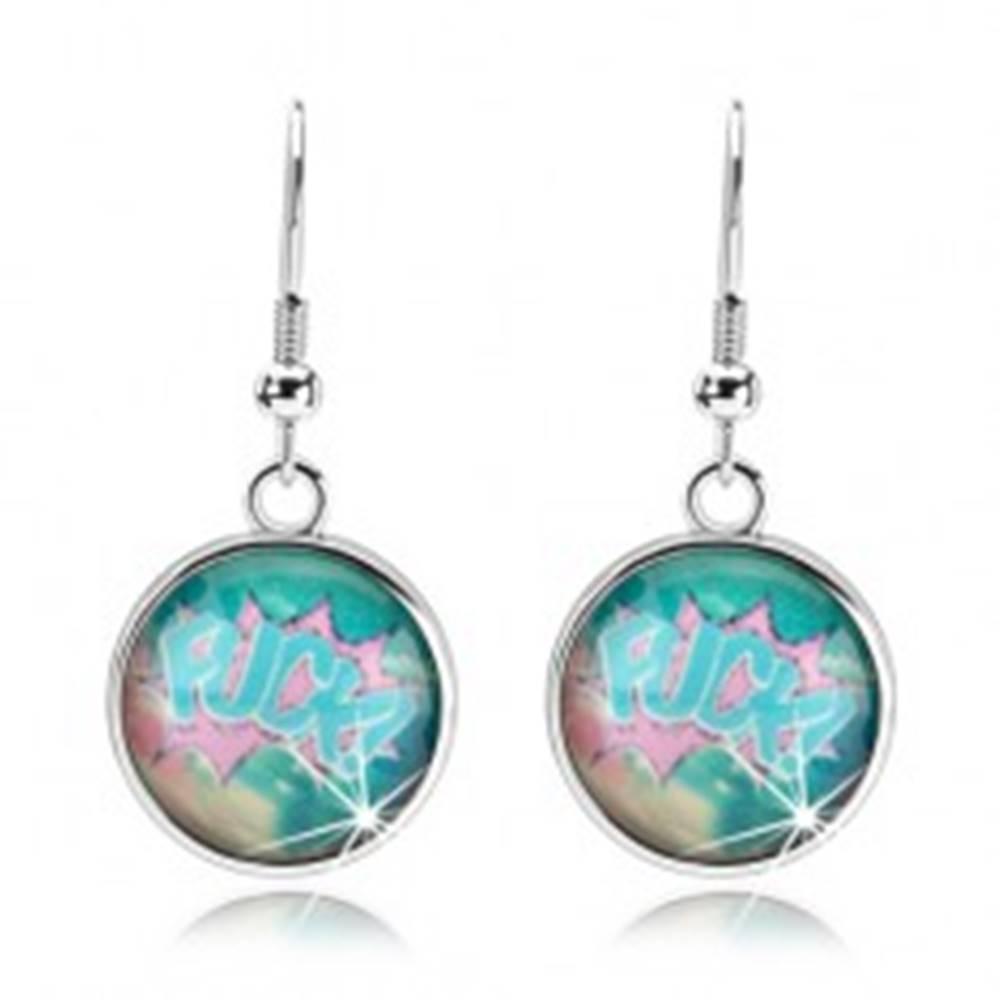 Šperky eshop Cabochon náušnice, priehľadné sklo, farebné pozadie, anglický nápis