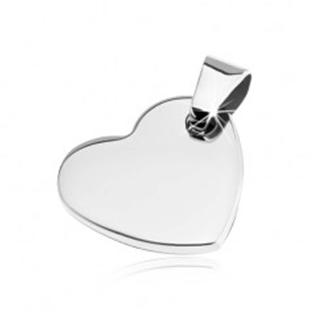 Šperky eshop Lesklý oceľový prívesok - ploché hladké srdce