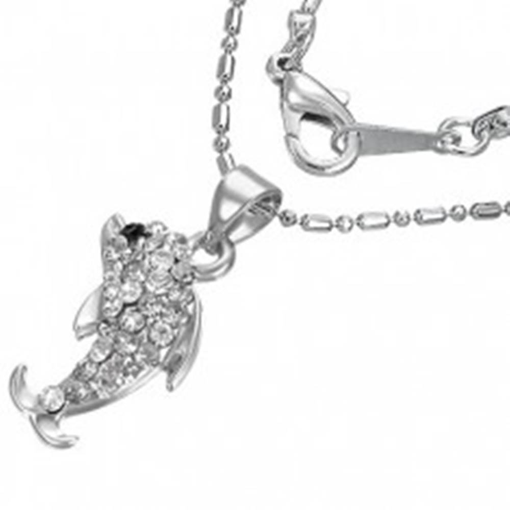 Šperky eshop Náhrdelník - delfín so zirkónmi na retiazke