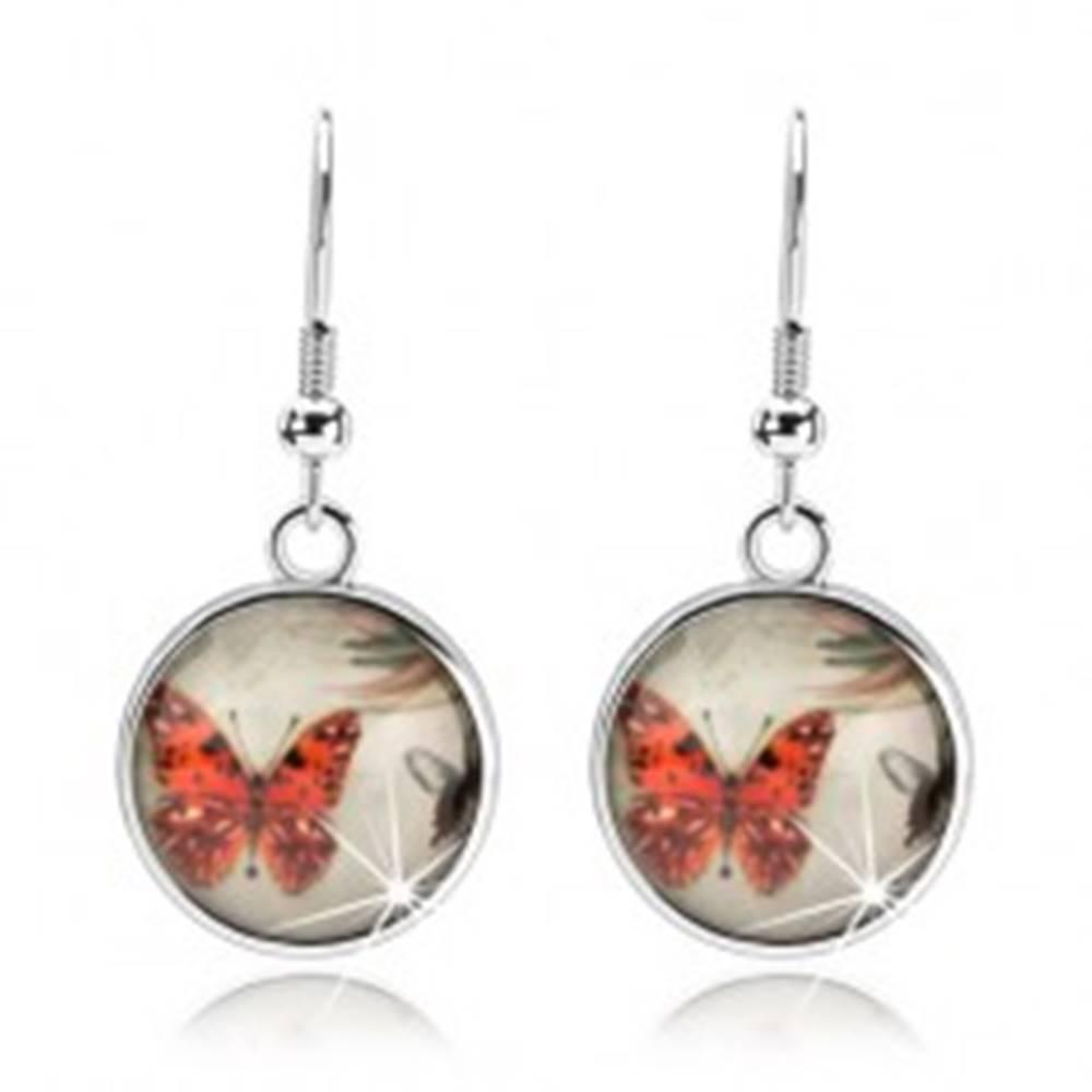 Šperky eshop Náušnice kabošon, číra vypuklá glazúra, oranžový a čierno-biely motýľ