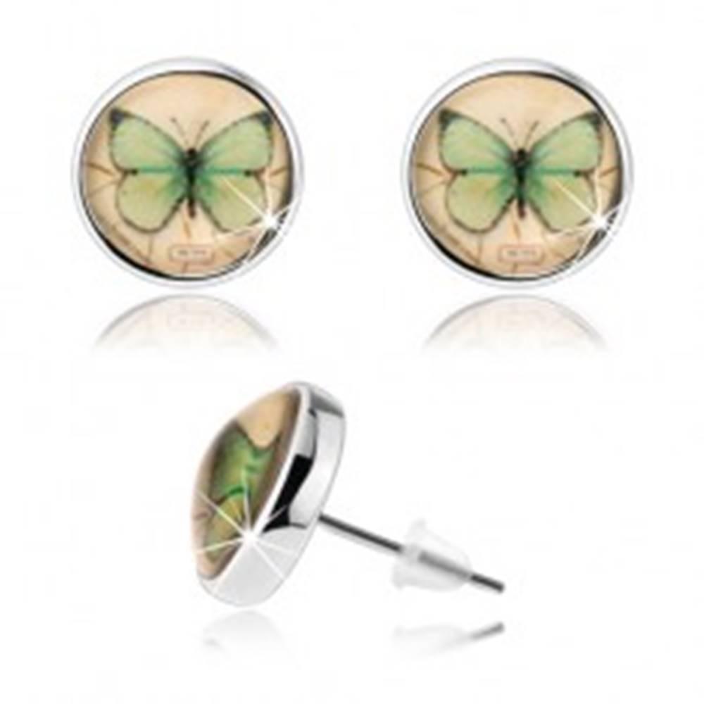 Šperky eshop Náušnice kabošon, číra vypuklá glazúra, zelený motýlik, žltý podklad