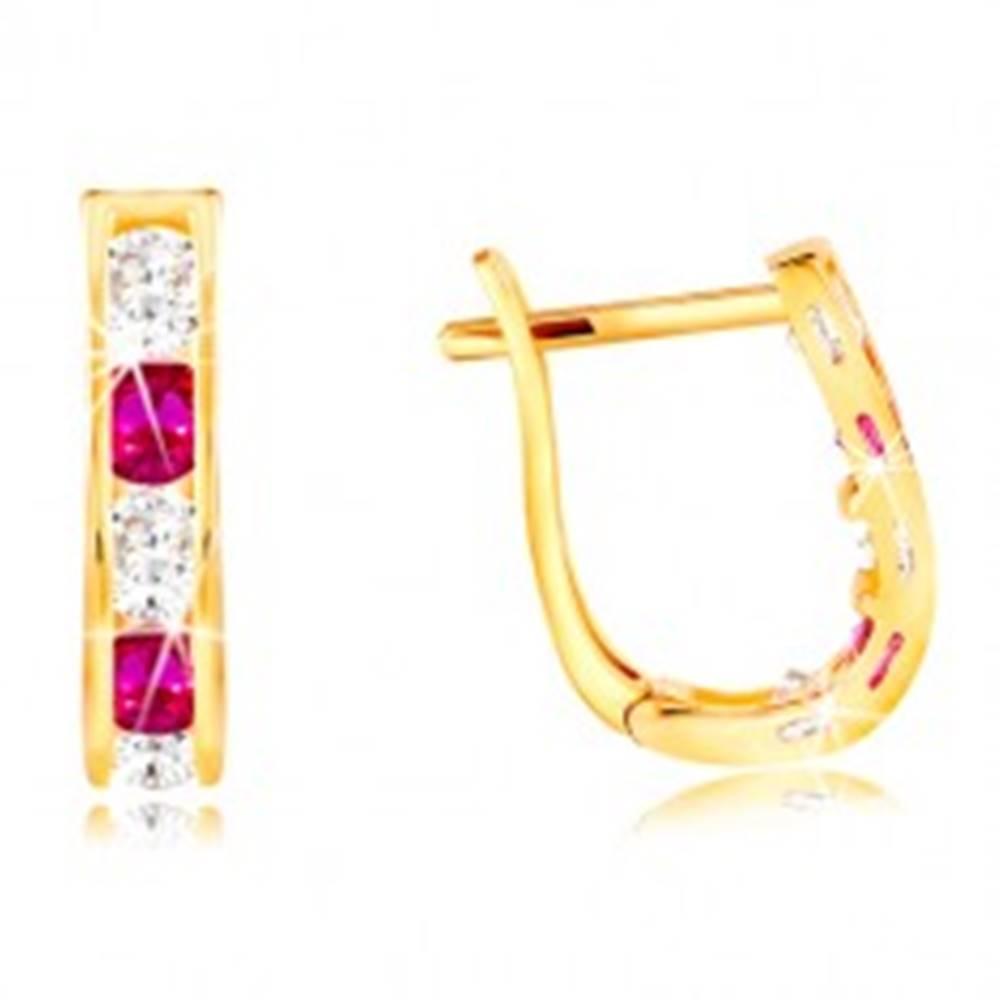 Šperky eshop Náušnice v žltom 14K zlate - oblúčik zo zirkónov čírej a ružovej farby