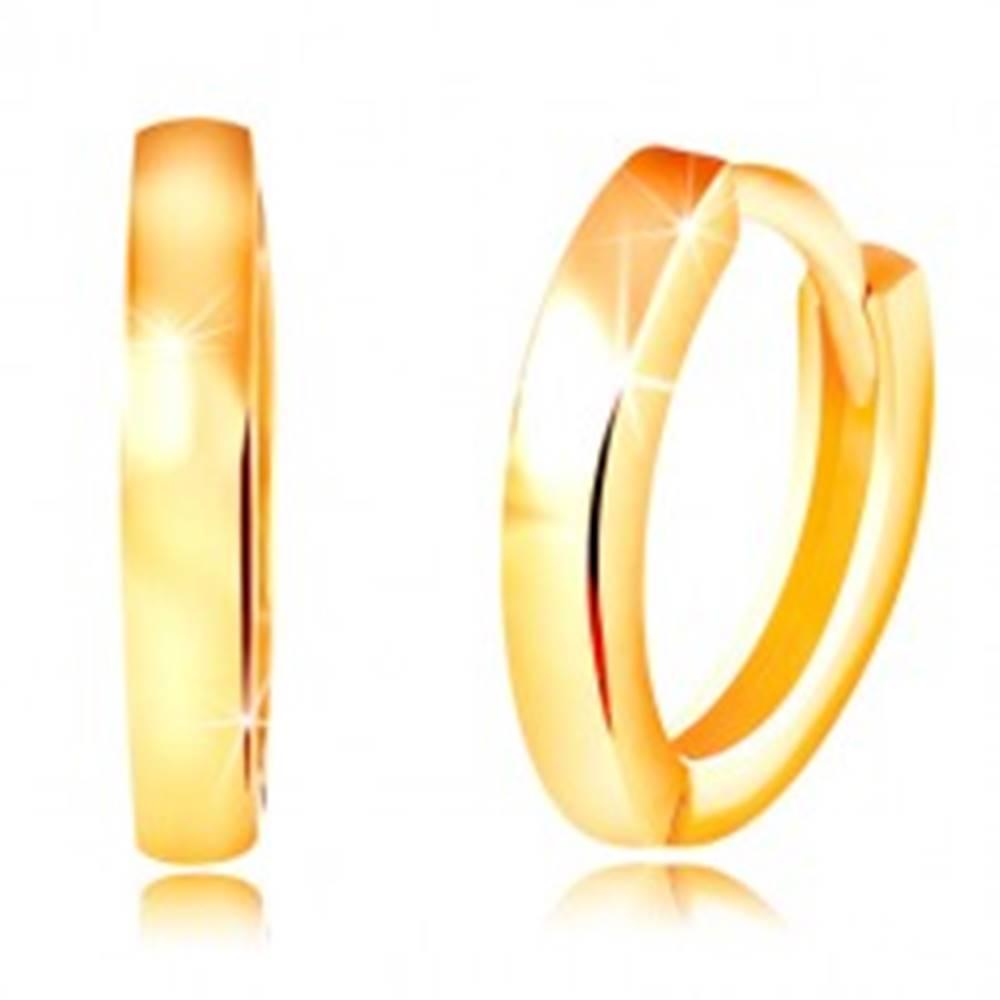 Šperky eshop Náušnice v žltom 14K zlate - úzke ovály s lesklým hladkým povrchom