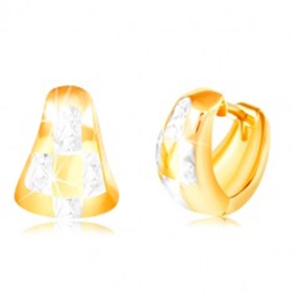 Šperky eshop Náušnice zo 14K zlata - dvojfarebný zaoblený trojuholník so vzorom šachovnice