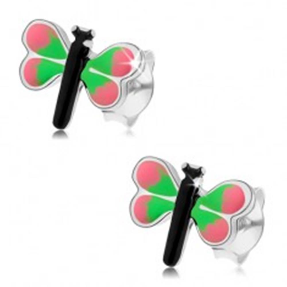 Šperky eshop Náušnice zo striebra 925, farebný motýľ, ružovo-zelené krídla