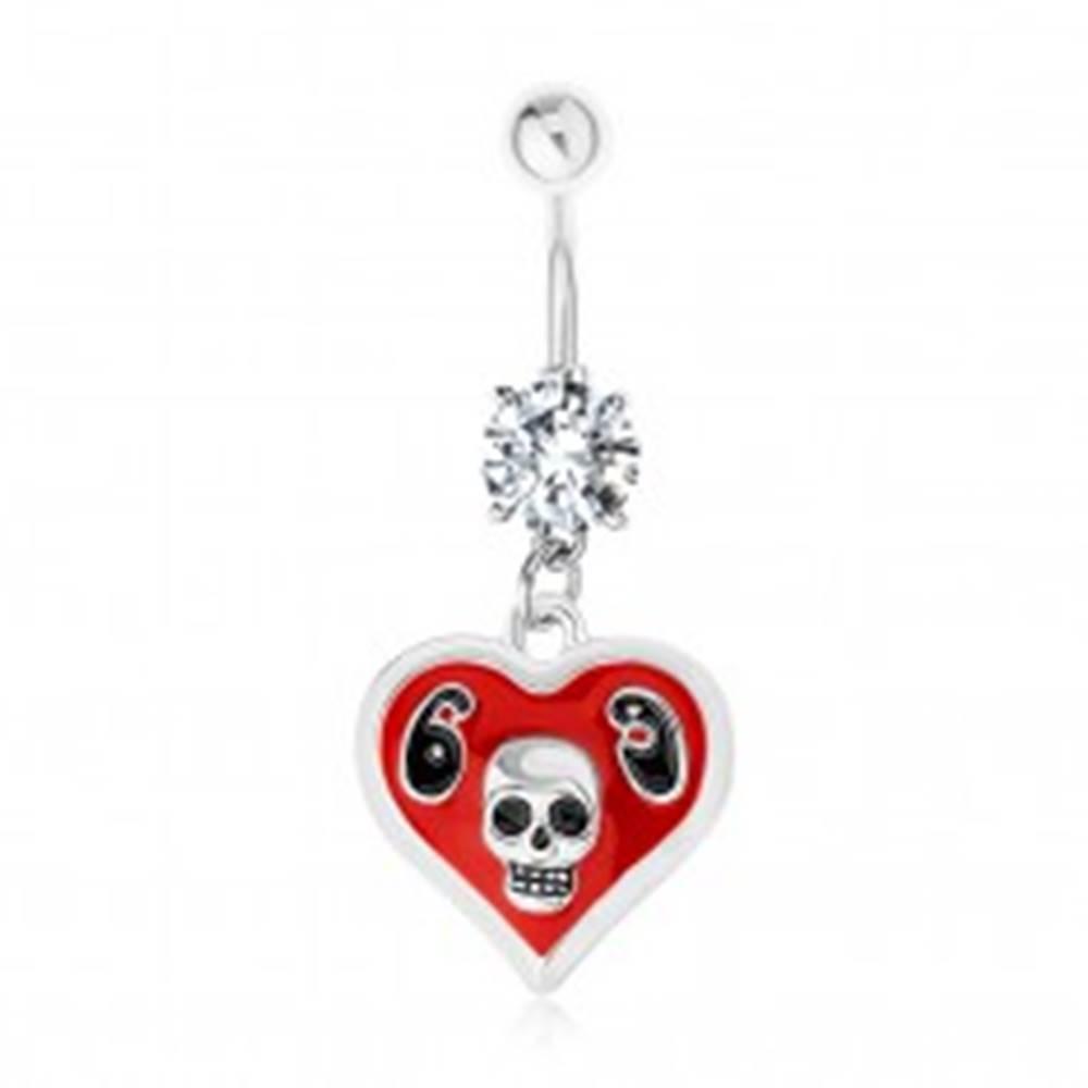 Šperky eshop Oceľový 316L piercing do brucha, srdce, glazúra, lebka, číslica 69