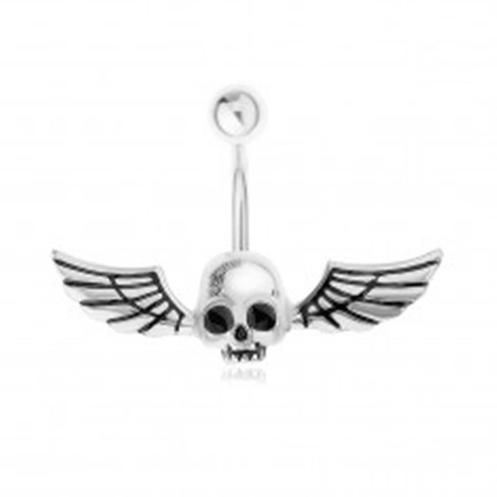 Šperky eshop Oceľový 316L piercing do pupku, lebka s krídlami svietiaca v tme
