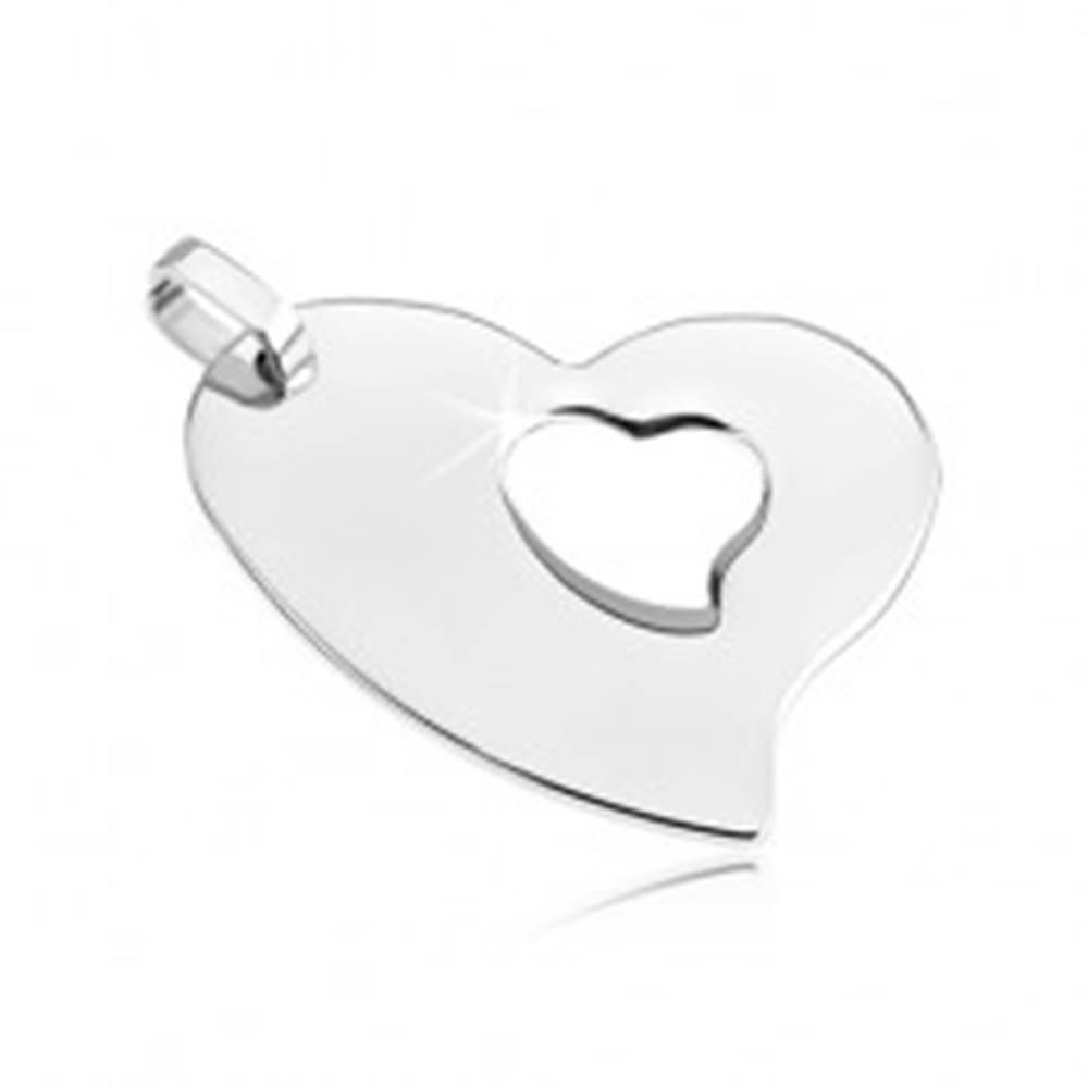 Šperky eshop Oceľový prívesok - asymetrické srdce so srdiečkovým výrezom