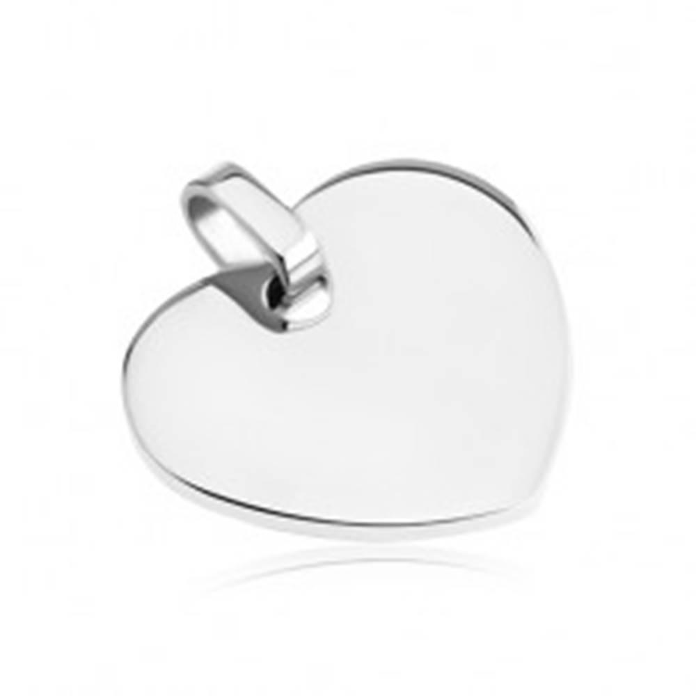 Šperky eshop Oceľový prívesok - hladké lesklé srdiečko