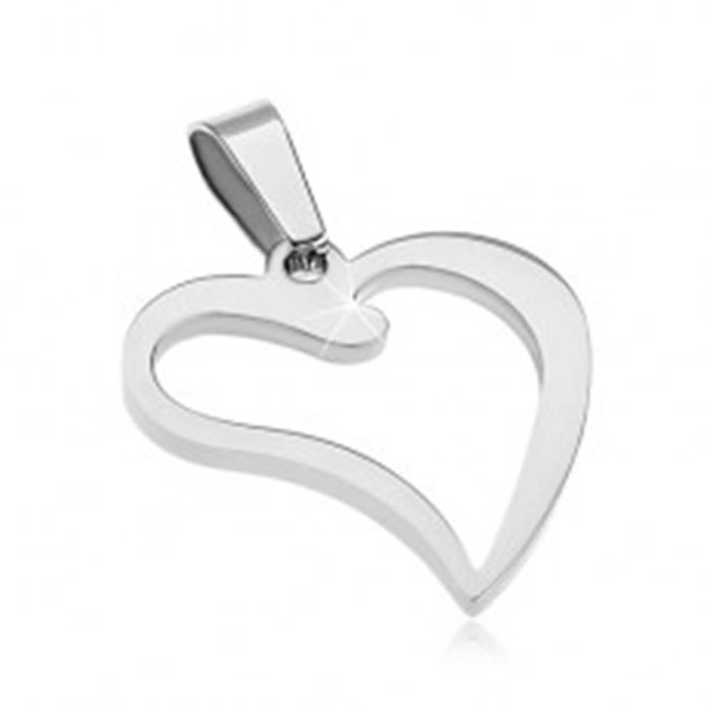 Šperky eshop Oceľový prívesok - lesklá kontúra srdiečka so zahnutým cípom