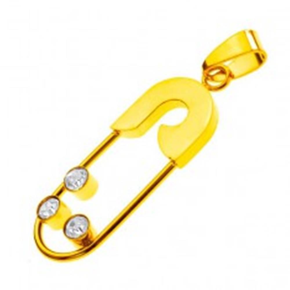 Šperky eshop Oceľový prívesok - zicherka s tromi zirkónmi, zlatá farba