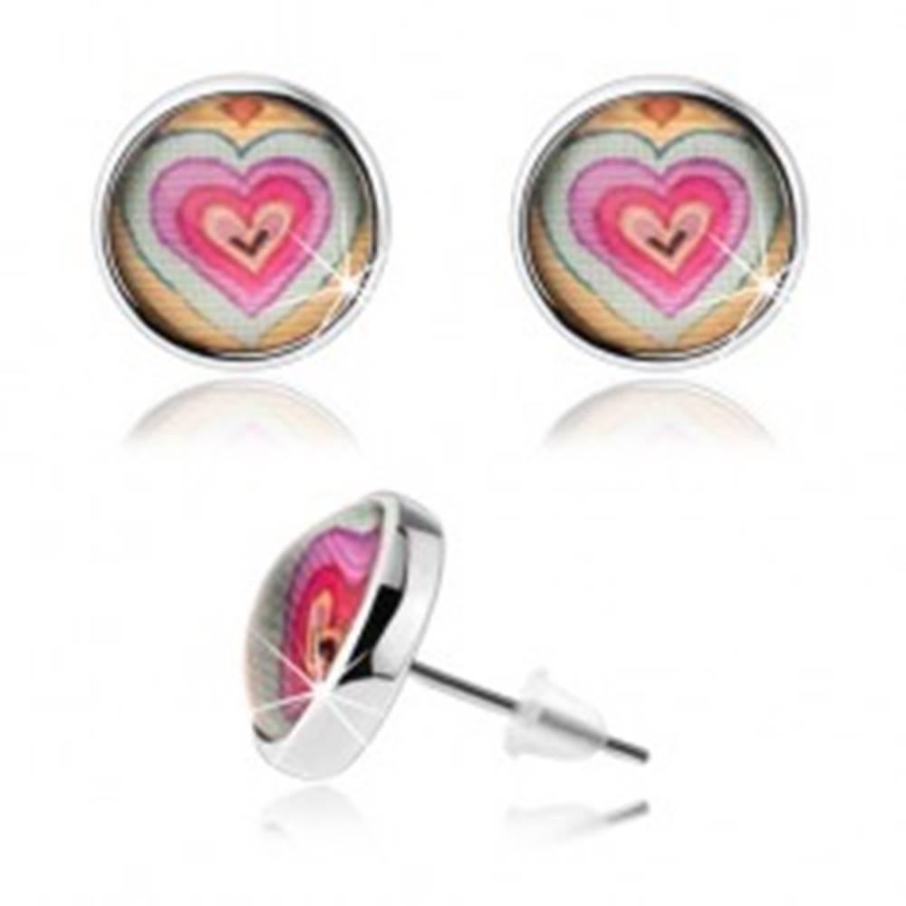 Šperky eshop Okrúhle náušnice s čírym vypuklým sklom, farebné srdiečka, puzetky