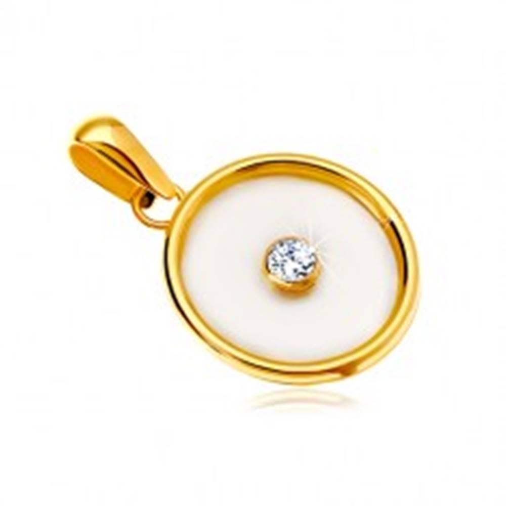 Šperky eshop Prívesok v žltom 14K zlate - kruh s výplňou z perlete a čírym zirkónom v strede