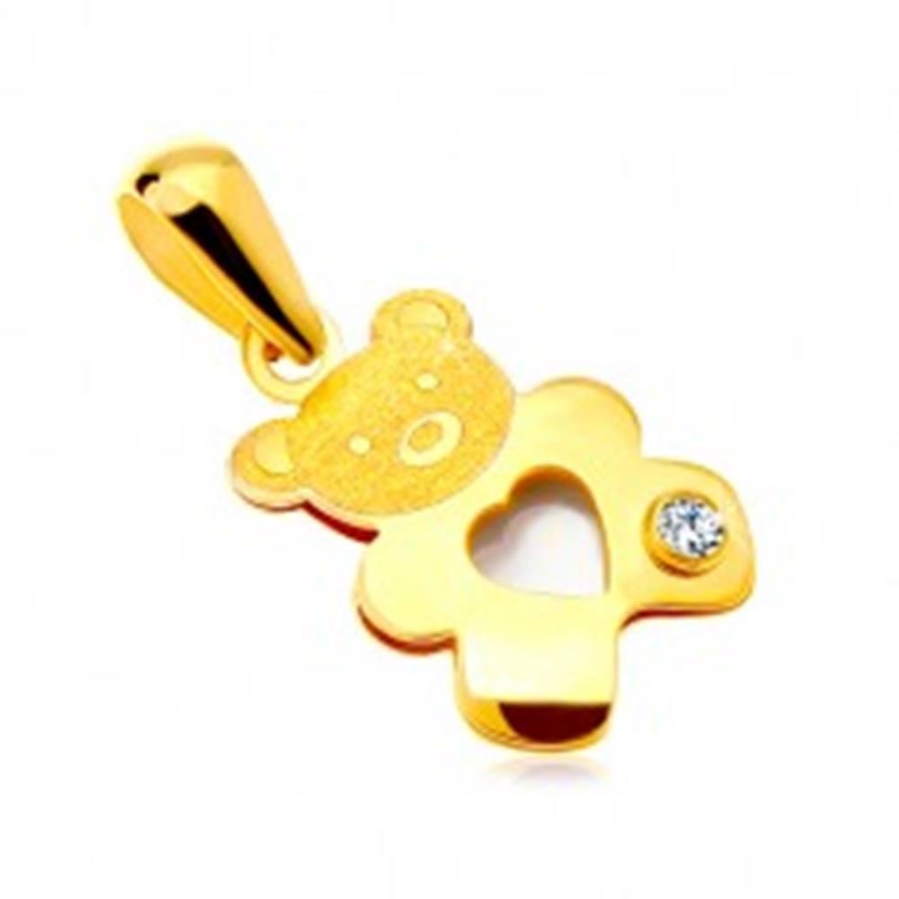 Šperky eshop Prívesok v žltom zlate 585 - medvedík s perleťovým srdiečkom a čírym zirkónom