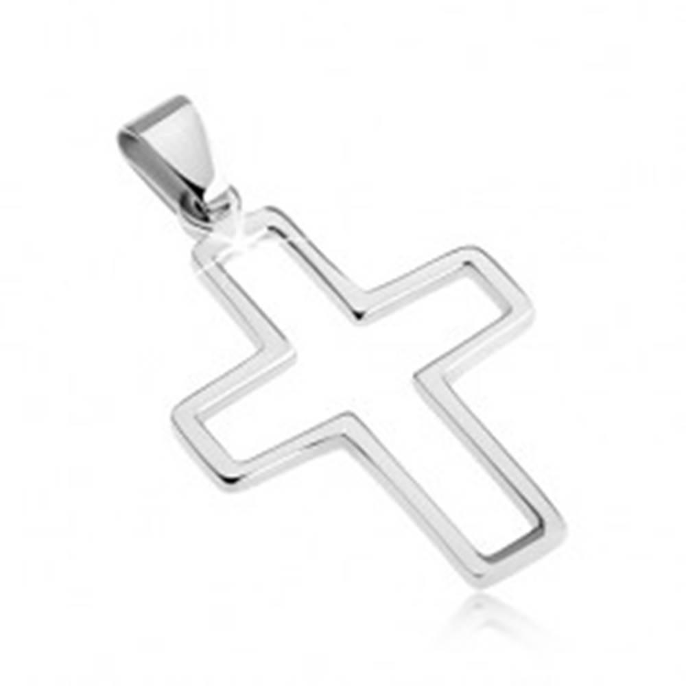 Šperky eshop Prívesok z nehrdzavejúcej ocele - obrysový krížik