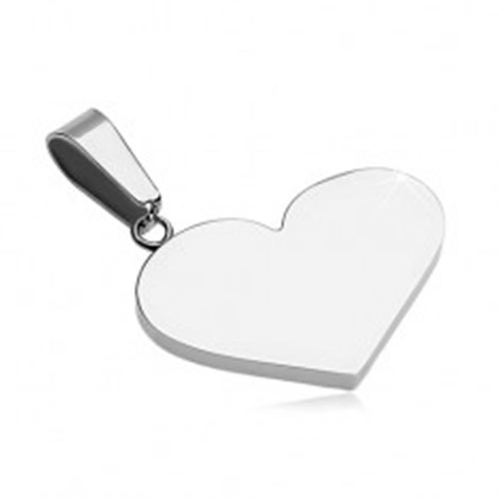Šperky eshop Prívesok z ocele 316L - ploché plné srdce, strieborná farba
