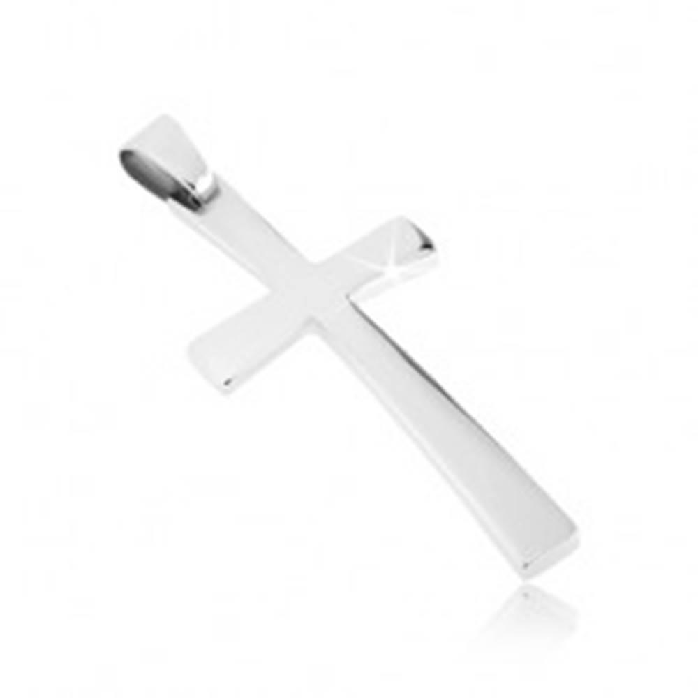 Šperky eshop Prívesok z ocele - jemne zaoblený latinský kríž