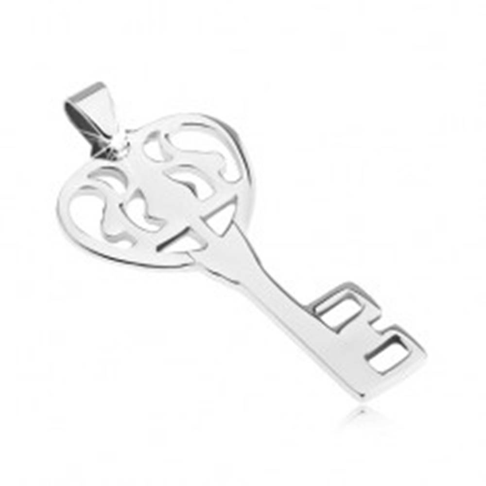Šperky eshop Prívesok z ocele - lesklý zdobený kľúč od srdca