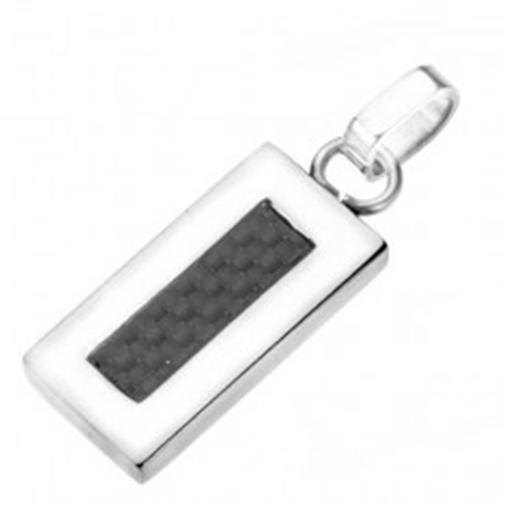 Šperky eshop Prívesok z ocele - úzka tabuľka s karbónovou štruktúrou