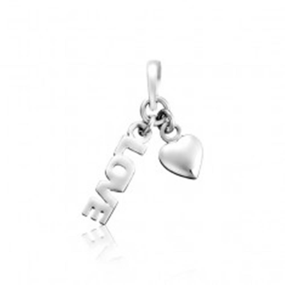 Šperky eshop Prívesok zo striebra 925 - LOVE so srdiečkom