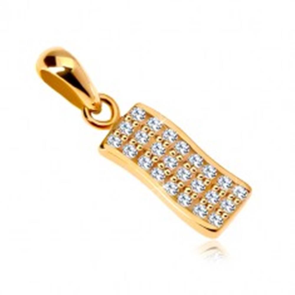 Šperky eshop Prívesok zo žltého 14K zlata - jemne zvlnený pásik vykladaný čírymi zirkónmi