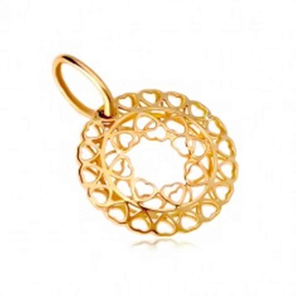 Šperky eshop Prívesok zo žltého zlata 585 - kruh zo spojených drobných srdiečok