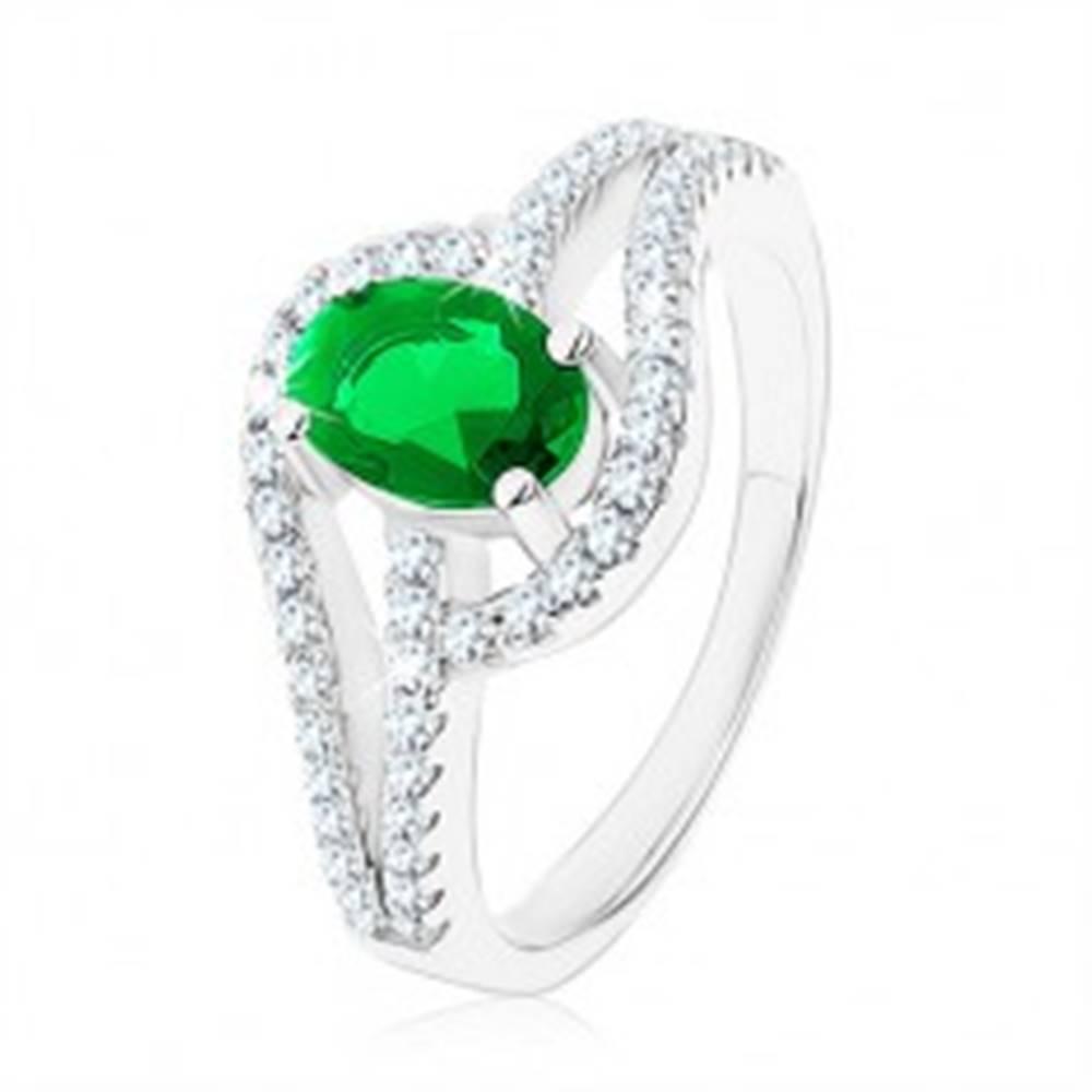 Šperky eshop Prsteň zo striebra 925, prepojené obrysy kvapiek, zelený zirkón - Veľkosť: 49 mm