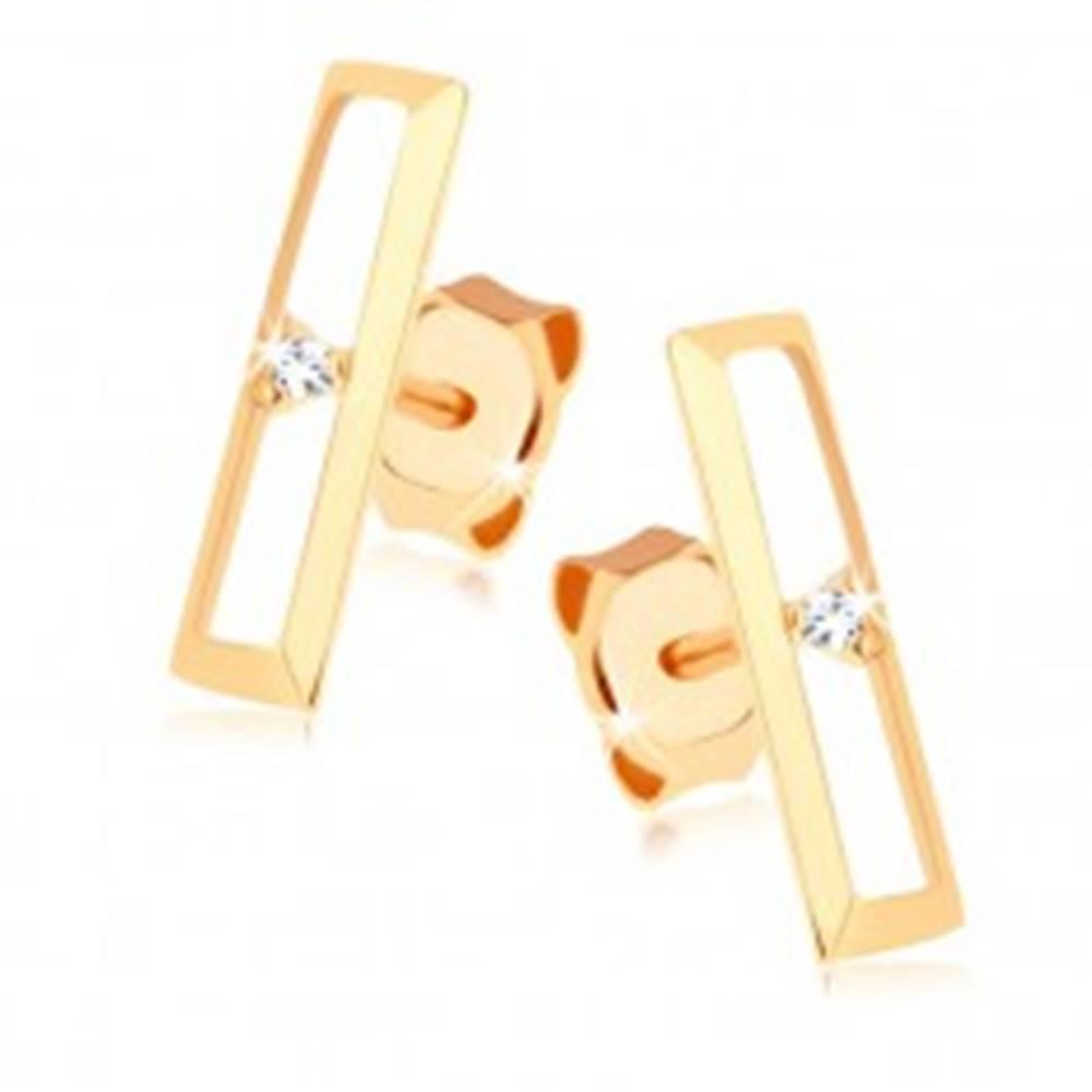 Šperky eshop Puzetové náušnice zo zlata 375 - lesklý obrys obdĺžnika, číry zirkónik