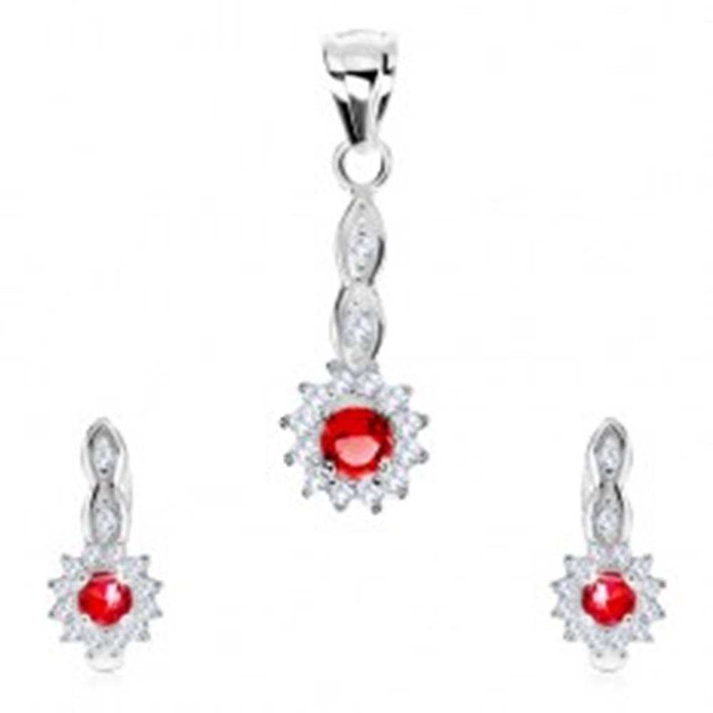 Šperky eshop Set, striebro 925, prívesok a náušnice, ružový zirkón-kruh, číra obruba