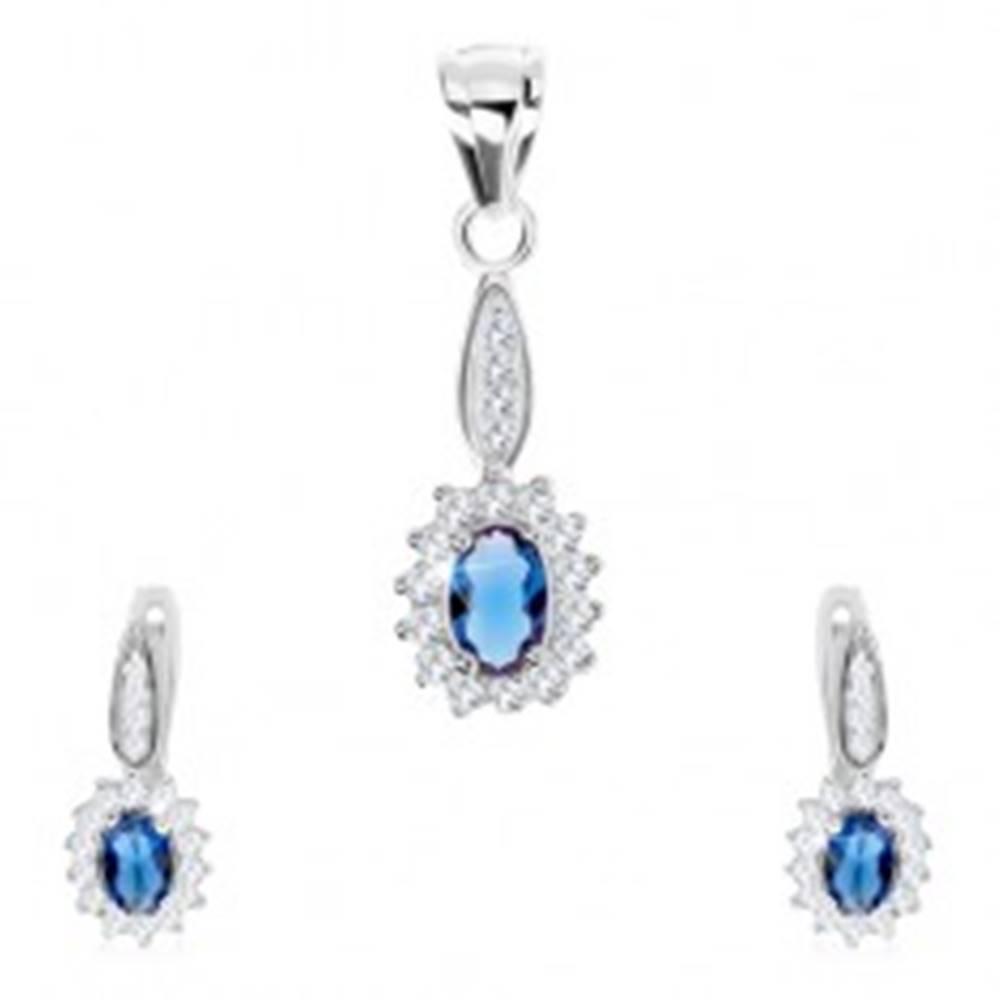 Šperky eshop Set zo striebra 925, náušnice a prívesok, modrý ovál s čírym lemom, zirkóny