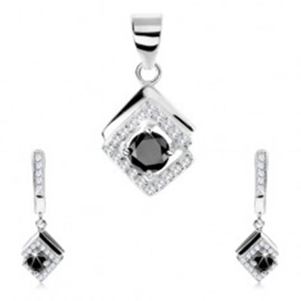 Šperky eshop Set zo striebra 925, prívesok a náušnice, čierny zirkón, kosoštvorec - lem