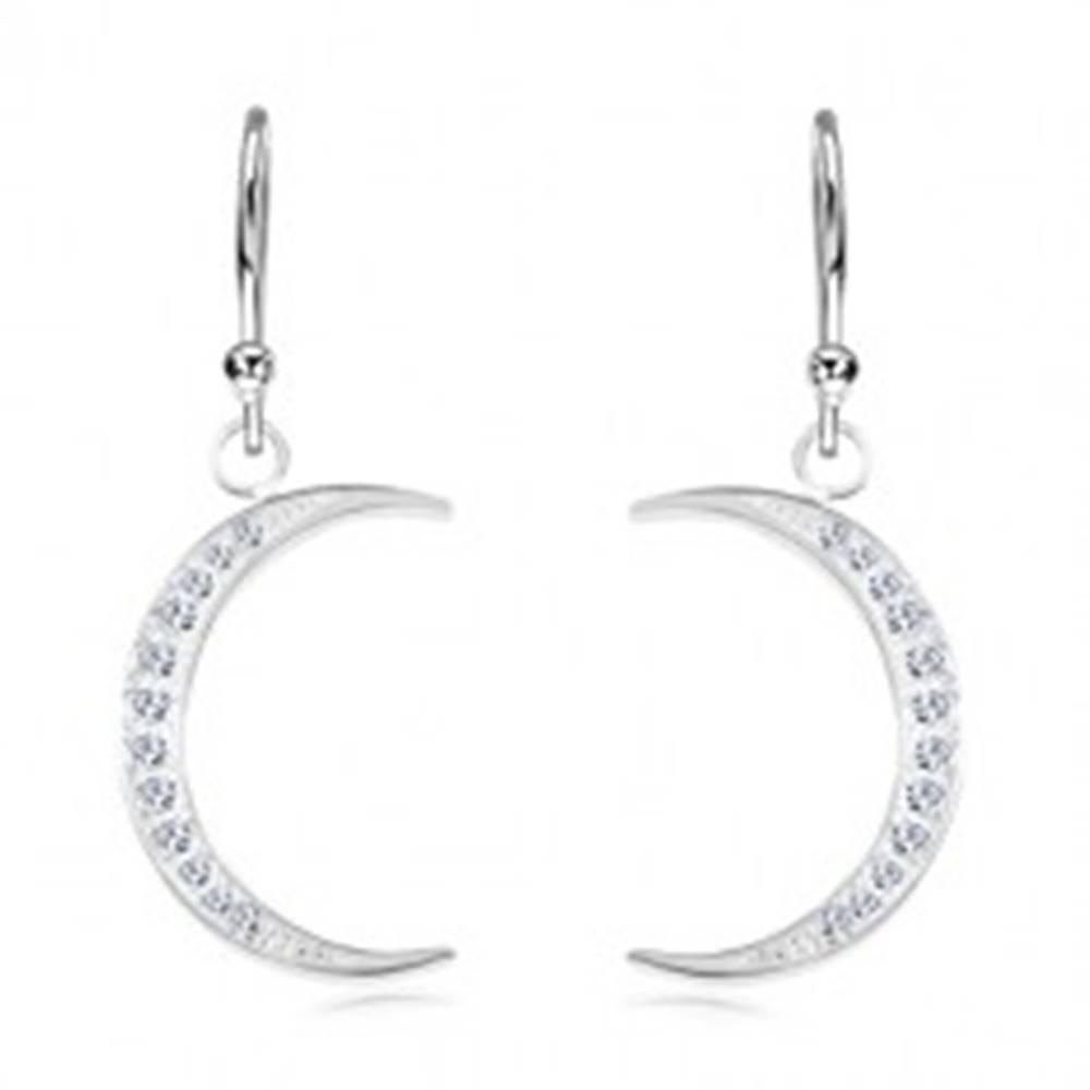 Šperky eshop Strieborné 925 náušnice, úzky kosák mesiaca vykladaný ligotavými zirkónmi